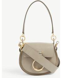 Chloé Chloé C Mini Leather And Suede Shoulder Bag - Gray