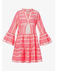 Devotion Ella Embroidered Cotton-blend Mini Dress - Pink