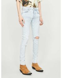 Amiri Distressed Skinny Stretch-denim Jeans - Blue