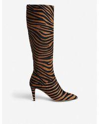 L.K.Bennett Gini Zebra-patterned Calf-hair Knee-high Boots - Brown