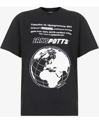 Saks Potts Tun Graphic-print Organic-cotton T-shirt - Black