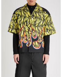 Prada - Banana Flame-print Regular-fit Cotton Shirt - Lyst