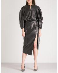 Off-White c/o Virgil Abloh Puffed-sleeve Leather Dress - Black
