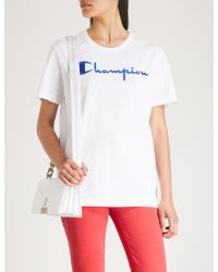 Champion - Logo-embroidered Cotton-jersey T-shirt - Lyst