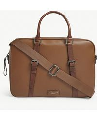Ted Baker Hooston Leather Document Bag - Brown