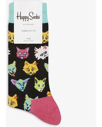 Happy Socks Cat Print Cotton Socks - Black