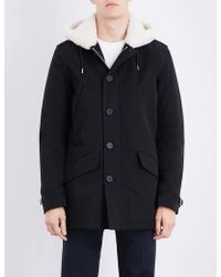 Sandro | Faux-shearling Lining Cotton-twill Coat | Lyst