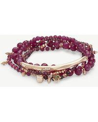 Kendra Scott - Supak 14ct Rose Gold-plated And Maroon Jade Beaded Bracelet - Lyst