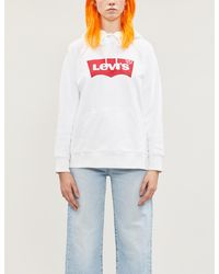 Levi's Logo-print Cotton-jersey Hoody - White