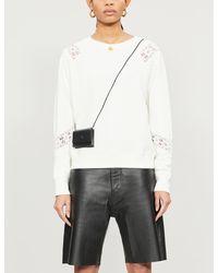 PAIGE Daytona Floral-crochet Cotton-blend Sweatshirt - White