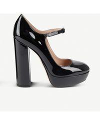 Miu Miu Patent Leather Platform Mary Janes - Black