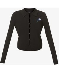 The Kooples - Floral-embroidered Stretch-woven Polo Shirt - Lyst