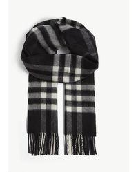 Burberry Giant Check Cashmere Scarf - Black