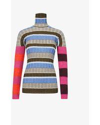 Colville Striped Turtleneck Wool-blend Sweater - Blue