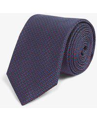 HUGO Dotted Silk Tie - Blue