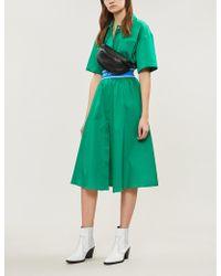 Sandro Sport Stripe Cotton Shirt Dress - Green