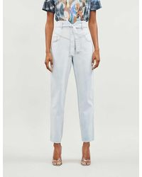 Pinko Carol Faded Tapered High-rise Jeans - Blue