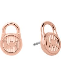 Michael Kors - Lock Rose Gold-toned Earrings - Lyst