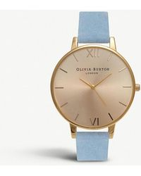 Olivia Burton - Ob16bd111 Sunray Yellow Gold-plated And Suede Strap Watch - Lyst
