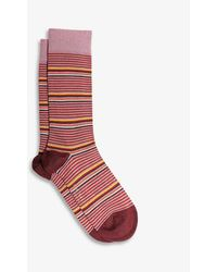 Ted Baker Assorted Stretch-cotton Socks Pack Of Three - Red