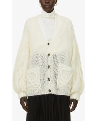 Loewe Cable-knit Puff-sleeve Mohair-blend Cardigan - Natural