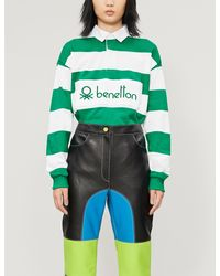 Benetton Striped Cotton Polo Shirt - Green