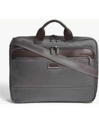 Briggs & Riley Mens Grey @work Slim Nylon Briefcase - Gray