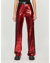 Balmain X Puma Wide-leg High-rise Sequinned Pants - Red