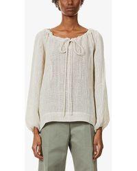 Lisa Marie Fernandez Womens Oatmeal Puffed-sleeve Linen-blend Top 3 - Multicolour