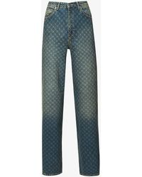 Daily Paper Geometric-print Straight Jeans - Blue