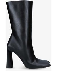 Balenciaga Moon Bootie Square-toe Heeled Leather Boots - Black