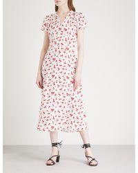 HVN Morgan Cherry-print Silk-satin Midi Dress - Multicolour