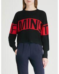 Izzue - Feminist-intarsia Knitted Jumper - Lyst