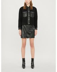 Sandro - Cropped Leather-trim Boucle Jacket - Lyst