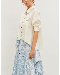 WEN PAN Floral-panel Cotton-jersey Shirt Blouse - Natural