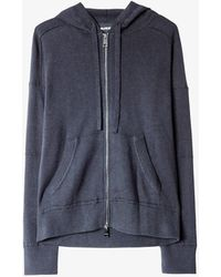 Zadig & Voltaire Maly Slogan-back Cotton Cardigan - Blue