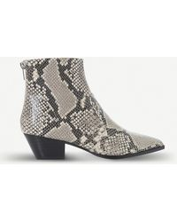 b77dc51c16f Cafe Reptile-embossed Leather Ankle Boots