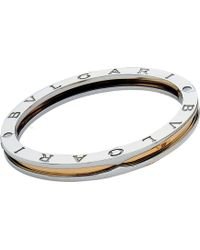 BVLGARI - B.zero1 18kt Yellow-gold And Steel Bangle Bracelet - Lyst