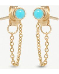 The Alkemistry - Zoë Chicco 14ct Yellow-gold And Turquoise Chain Earrings - Lyst