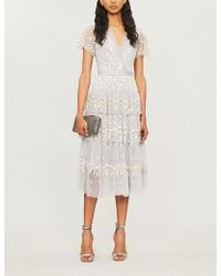 Needle & Thread Angelica Floral-embroidered Short-sleeved Tulle Dress - White