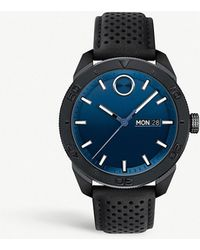 Movado - Bold Sport Black-plated Stainless Steel And Leather Watch - Lyst