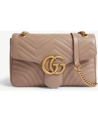 Gucci - Women's Porceline Rose Pink Quilted Gg Marmont Leather Shoulder Bag - Lyst