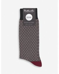 Pantherella Jones Graphic-print Cotton-blend Socks - Grey