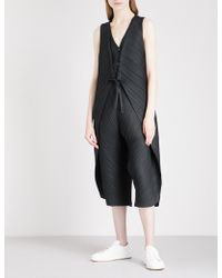 Pleats Please Issey Miyake - Pleated Cropped Jumpsuit - Lyst
