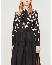 Valentino Tied-neck Floral-print Silk-crepe Shirt - Black