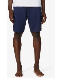 Emporio Armani Cargo Cotton-jersey Shorts - Blue