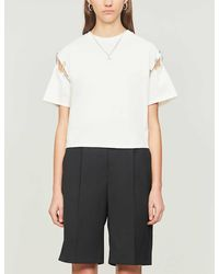 The Kooples Safety Pin-trim Cotton-jersey T-shirt - White