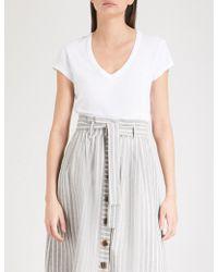 The White Company - V-neck Cotton-jersey T-shirt - Lyst