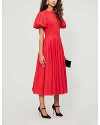 Emilia Wickstead Doreen Puffed-sleeve Woven Midi Dress - Red