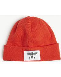 BOY London Logo Knitted Fisherman Beanie - Red